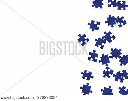 Business Mind-breaker Jigsaw Puzzle Dark Blue Pieces Vector Background. Scatter Of Puzzle Pieces Iso