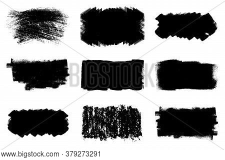 Paint Roller Distress Overlay Texture Set. Dirtty Isolated Basis. Artistic Messy Banner Background C