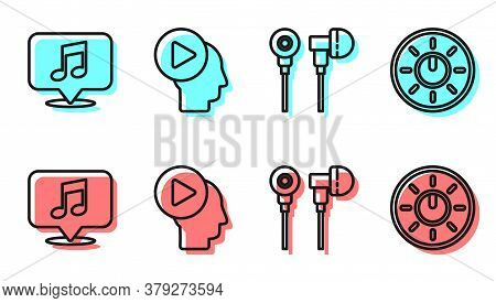 Set Line Air Headphones, Musical Note In Speech Bubble, Head People With Play Button And Dial Knob L