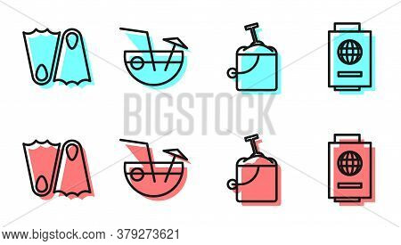 Set Line Sand In Bucket With Shovel, Rubber Flippers, Coconut Cocktail And Passport With Ticket Icon