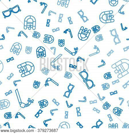 Set Line Snorkel, Glasses And Rafting Boat On Seamless Pattern. Vector