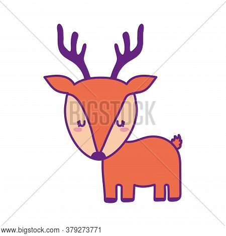 Cute Reindeer Cartoon Line And Fill Style Icon Design, Animal Zoo Life Nature And Character Theme Ve