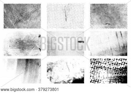Distress Grunge Halftone Overlay Textures Set. Dirty Dot Noise Aging Design Templates Collection. Po