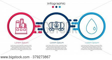 Set Line Oil Industrial Factory Building, Oil Railway Cistern And Oil Drop. Business Infographic Tem