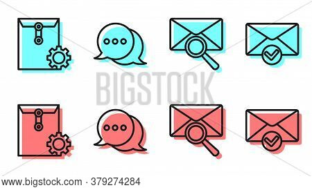 Set Line Envelope With Magnifying Glass, Envelope Setting, Speech Bubble Chat And Envelope And Check