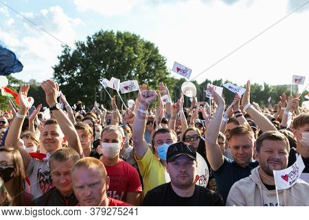 Minks/ Belarus - 30 July 2020: Crowd Of People In The Park During The Presidential Election Campaign