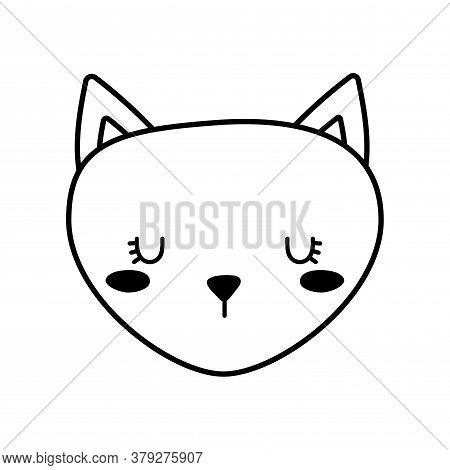 Cute Cat Face Cartoon Line Style Icon Design, Animal Pet Kitten Domestic Feline Kitty Mammal Beautif