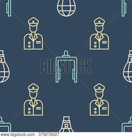 Set Line Hot Air Balloon, Pilot And Metal Detector In Airport On Seamless Pattern. Vector