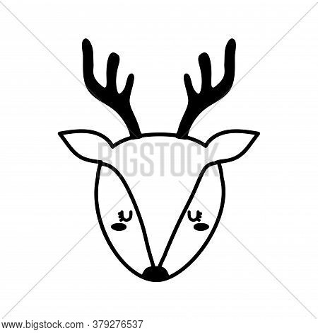 Cute Reindeer Face Cartoon Line Style Icon Design, Animal Zoo Life Nature And Character Theme Vector