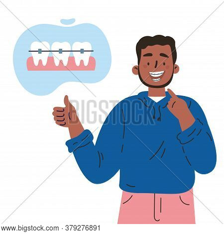 Trendy Young Man With Teeth Braces.dental Care.african American Man Smiling And Showing His Smile Wi