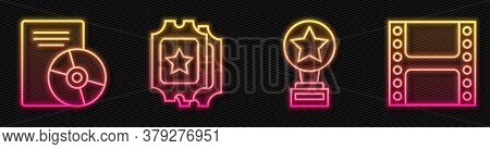 Set Line Movie Trophy, Cd Or Dvd Disk, Cinema Ticket And Play Video. Glowing Neon Icon. Vector
