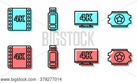 Set Line Screen Tv With 4k, 4k Movie, Tape, Frame, Usb Flash Drive And Cinema Ticket Icon. Vector