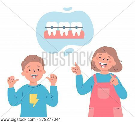 Trendy Kids With Teeth Braces.dental Care.teenagersr Smiling And Showing Their Smile With Dental Bra
