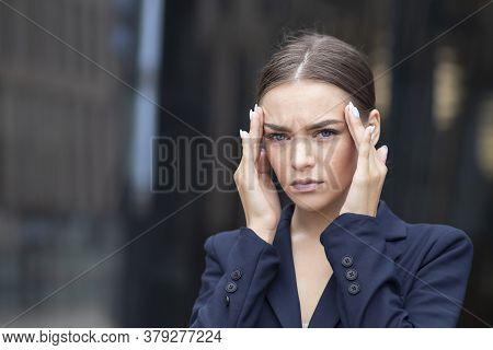 Exhausted Tired Frustrated Businesswoman, Beautiful Young Girl, Lady Looking At Document, Papers Wit
