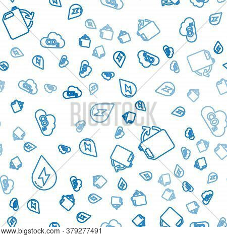 Set Line Water Energy, Eco Fuel Canister And Co2 Emissions In Cloud On Seamless Pattern. Vector