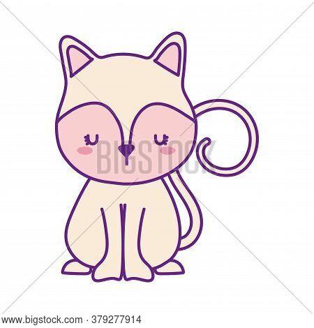 Cute Cat Cartoon Line And Fill Style Icon Design, Animal Pet Kitten Domestic Feline Kitty Mammal Bea