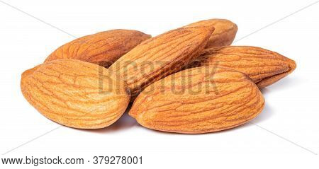 Almond Isolated. Almonds On White Background With Clipping Path.