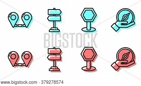 Set Line Road Traffic Sign, Route Location, Road Traffic Sign And Compass Icon. Vector