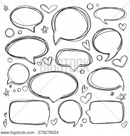Set Of Hand Drawn Elements For Selecting Text. Oval, Round Frames And Labels. Dialog Box Icon. Think
