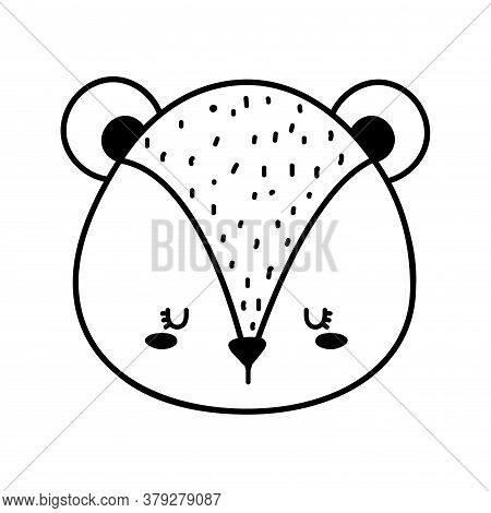 Cute Squirrel Face Cartoon Line Style Icon Design, Animal Zoo Life Nature And Character Theme Vector