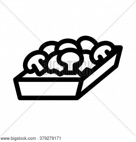 Mushroom Container Icon Vector. Mushroom Container Sign. Isolated Contour Symbol Illustration