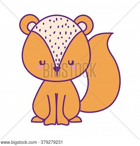 Cute Squirrel Cartoon Line And Fill Style Icon Design, Animal Zoo Life Nature And Character Theme Ve