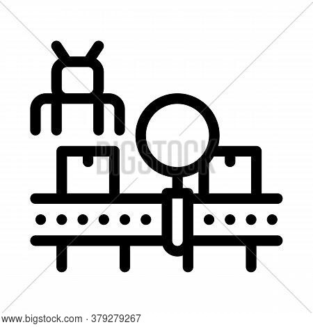 Manufacturing Defect Search Icon Vector. Manufacturing Defect Search Sign. Isolated Contour Symbol I
