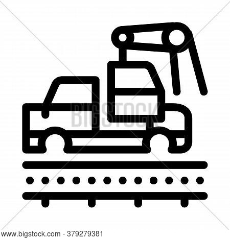 Car Manufacturing Icon Vector. Car Manufacturing Sign. Isolated Contour Symbol Illustration