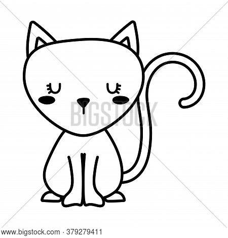 Cute Cat Cartoon Line Style Icon Design, Animal Pet Kitten Domestic Feline Kitty Mammal Beautiful An