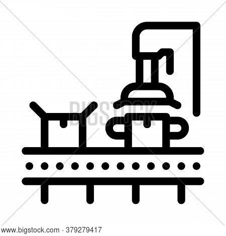 Machine For Close Box Icon Vector. Machine For Close Box Sign. Isolated Contour Symbol Illustration