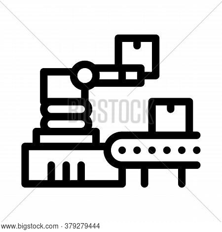 Robotic Manufacturing Icon Vector. Robotic Manufacturing Sign. Isolated Contour Symbol Illustration