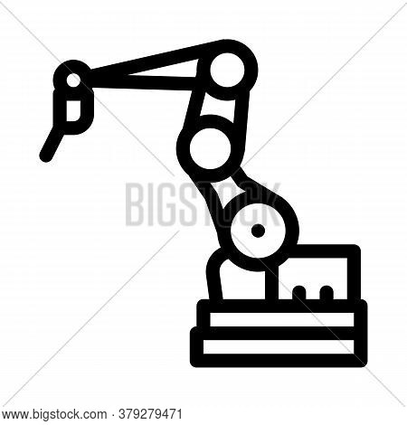 Manufacturing Robotic Arm Icon Vector. Manufacturing Robotic Arm Sign. Isolated Contour Symbol Illus