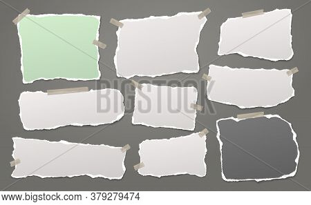 Torn Of White And Colorful Note, Notebook Paper Strips And Pieces Stuck With Sticky Tape On Dark Gre