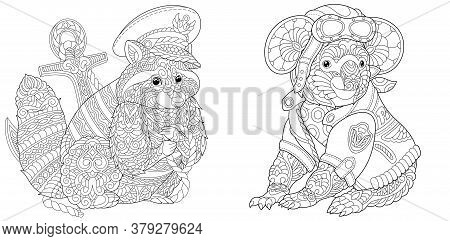 Coloring Pages. Raccoon Ship Captain. Koala Bear Airplane Pilot. Line Art Design For Adult Colouring