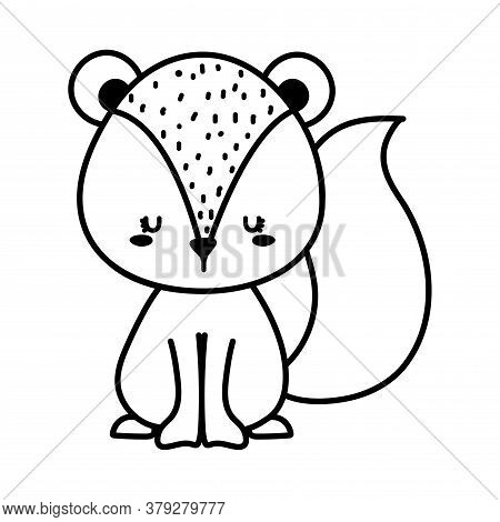 Cute Squirrel Cartoon Line Style Icon Design, Animal Zoo Life Nature And Character Theme Vector Illu