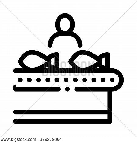 Fish Factory Worker Icon Vector. Fish Factory Worker Sign. Isolated Contour Symbol Illustration