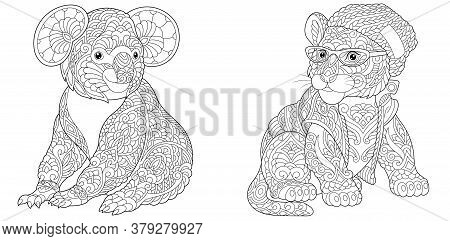 Coloring Pages. Koala Bear And Tiger In Hipster Clothes. Line Art Design For Adult Colouring Book Wi