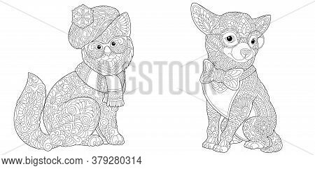 Coloring Pages. Cat And Chihuahua Dog In Funny Accessories. Line Art Design For Adult Colouring Book