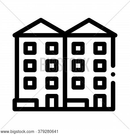 Apartment Houses Icon Vector. Apartment Houses Sign. Isolated Contour Symbol Illustration