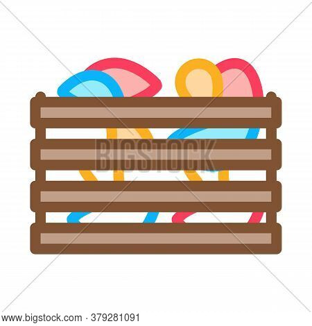 Mushroom Wooden Box Icon Vector. Mushroom Wooden Box Sign. Color Symbol Illustration