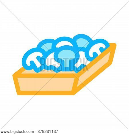 Mushroom Container Icon Vector. Mushroom Container Sign. Color Symbol Illustration