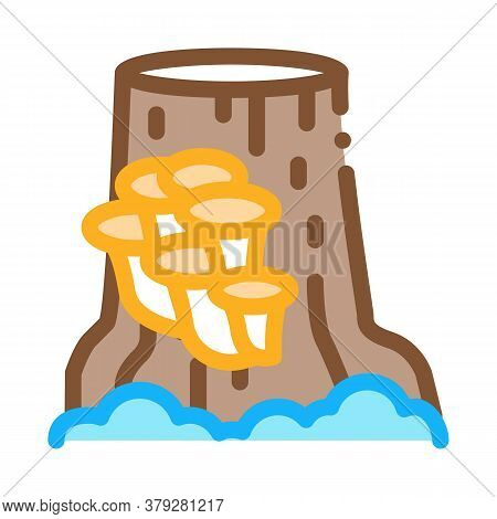 Mushroom Growing On Stump Icon Vector. Mushroom Growing On Stump Sign. Color Symbol Illustration