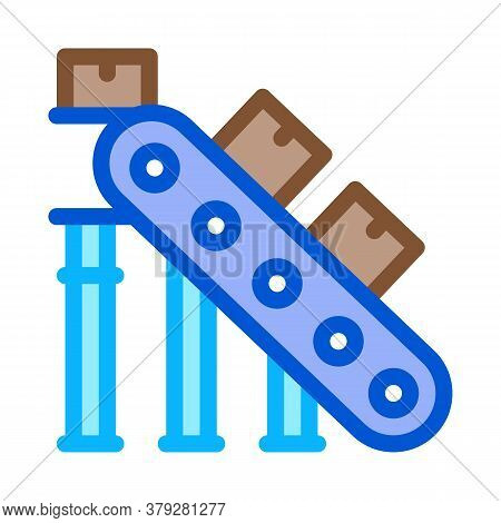 Manufacturing Conveyor Belt Icon Vector. Manufacturing Conveyor Belt Sign. Color Symbol Illustration