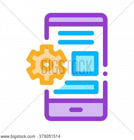 Web Site Adaptive For Phone Icon Vector. Web Site Adaptive For Phone Sign. Color Symbol Illustration