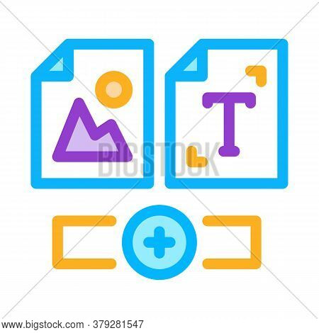 Web Side Image And Text Icon Vector. Web Side Image And Text Sign. Color Symbol Illustration