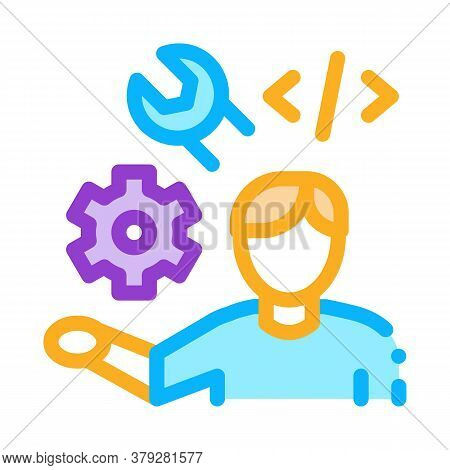 Front End Developer Icon Vector. Front End Developer Sign. Color Symbol Illustration