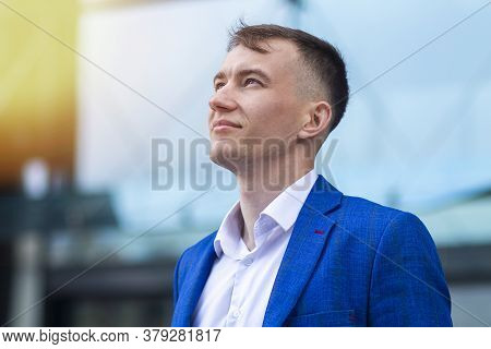 Profile Portrait Of Handsome Pensive Thoughtful Businessman, Young Positive Guy In Formal Suit Is Dr