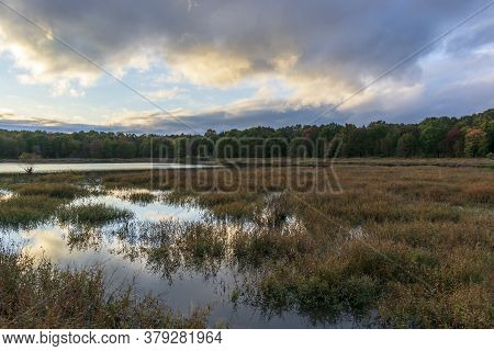 Puffy Blue And Yellow Clouds Are Reflected In The Mirror-like Surface Of A Small Virginia Marsh At D
