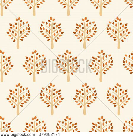 Autumn Tree Seamless Vector Pattern. Tree Silhouette Fall Background Red Orange Brown Beige. Use For