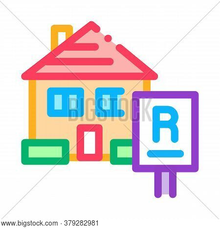 House Rent Icon Vector. House Rent Sign. Color Symbol Illustration